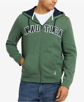 Nautica Men's Full Zip Logo Hoodie Sweatshirt Green Size Large