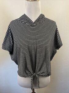 Lululemon Knot Gonna Fly Hoodie Tee Gray White Stripe Small Medium S M Top Shirt