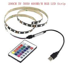 5v 5050 60smd/m RGB LED Strip Light Bar TV Back Lighting Kit USB Remote Control 2m