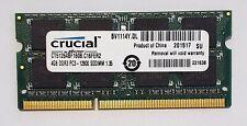 Crucial 4GB DDR3L 1600MHz Laptop RAM ~~ PC3L-12800S SODIMM Memory 2Rx8 1.35v 204