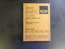 Hatz Diesel Types ES71 E71 ES75 E75 ES79 E79 ES780 E780 ES785 Spare Parts List