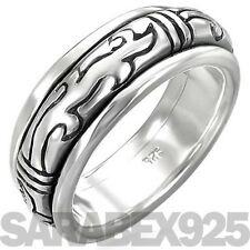 GENUINE SOLID 925 STERLING SILVER TRIBAL SPINNER RING - X (US 11.75) MEN / WOMEN