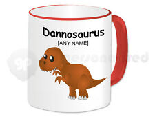 Personalised Gift Dinosaur Mug Cup Kids JurassicTyrannosaurus T-Rex Red Handle