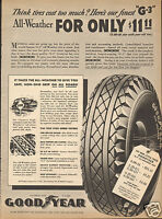 1940 Print Ad of Goodyear G-3 All-Weather Car Tire