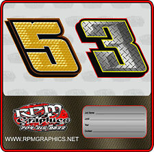 Racing Go Kart Chiseled Number Packagestickergraphicslettering
