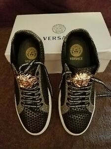 BRAND NEW VERSACE WOMENS SNEAKERS 7.5 US GORGEOUS BLACK WITH GOLD MEDUSA HEAD