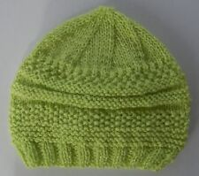Hand-knitted Baby Hat - Apple Green - Newborn