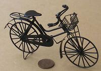 1:12 Scale Black Metal Ladies Bicycle With Basket Tumdee Dolls House Bike Garden
