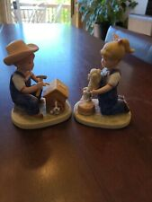 "1985 Denim Days #1503 ""Puppy Love� Home Interiors Figurine Homco"