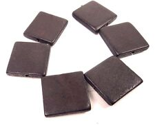 6 Wood Flat Square Beads 30mm - Dark Brown