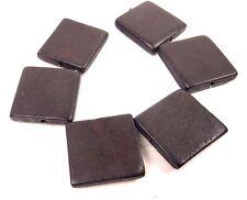 6 Wood Flat Square Beads 30mm - Dark Brown
