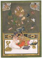 Hand Painted Mughal Love Scene Akbar & Jodha Bai Indian Miniature Art & Painting