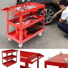 RED Tool Storage Heavy Duty Garage Trolley Workshop DIY 3 Tier Wheel Cart Shelf