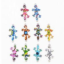 Lots 10Pcs Random Color Charms Connectors Gecko House Lizard DIY Jewelry Making
