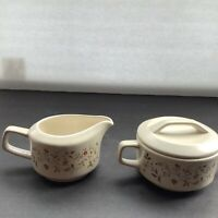 TEMPER-WARE CREAM AND SUGAR SET BY LENOX MERRIMENT PATTERN MADE IN USA