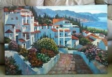 Italy Beach Estate Shore Resort Homes Flowers Stretched 36X24 Oil Painting
