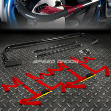 "BLACK 49""STAINLESS STEEL CHASSIS HARNESS BAR+RED 4-PT STRAP BUCKLE SEAT BELT"
