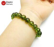 10mm Green Round Natural Peridot Bracelet for Women Fine Jewelry 7.5'' bra461