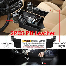 2×Black PU Car Seat Storage Box Catcher Cup Holder Coin Collector For Left&Right