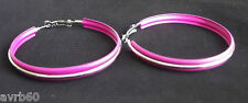 hoop earrings in a pink and silver colour metal stripe 6 cm dangle new