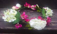 Pink Flower Crown Headband Festival Hair Wreath Rustic Bridal Bridesmaid Halo