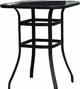 Emerit Patio Bar Tables, Outdoor Bistro Bar Height Table, Metal Frame Tempered G