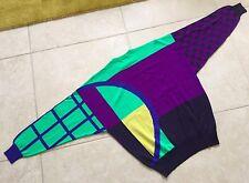 GIANNI VERSACE purple green blue yellow wool sweater Italian size 50 from 1991