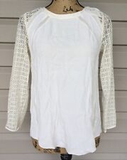 JOIE PORCELAIN LACE SLEEVE CUTOUT BACK SHEER BLOUSE SHIRT TOP IVORY XSMALL $198