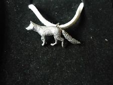 """Fox codea23 Made From Fine English Pewter On a 18"""" White Cord Necklace"""