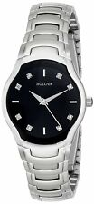 Bulova Diamond Women's 96P146 Quartz Black Dial Silver Tone Bracelet 28mm Watch