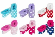 Ladies Girls Polka Dots Dotty Hearts Snoozies! Slippers Sherpa Fleece Lined Gift