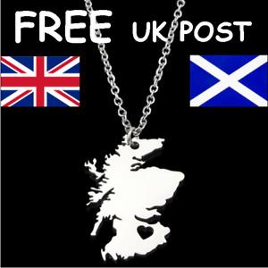 HEART OF SCOTLAND SILVER TONE OUTLINE MAP SCOTTISH PENDANT NECKLACE