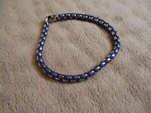 DAVID YURMAN'S Men's 4.8mm Woven Box Chain Bracelet Blue Nylon Silver Cord-Mint