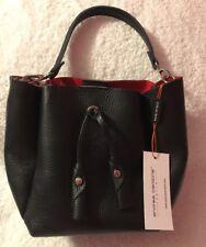 Andrea Cardone Small Drawstring Bucket Purse Blacl Leather