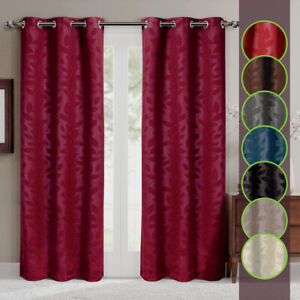 2 x Panel Virginia Blackout Grommet Window Curtain Set Leafy Design Weave Drapes
