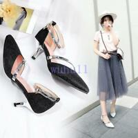 Women's Elegant Pointed Toe Ankle Strappy Pumps Party Court Shoes Wedding Solid