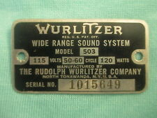 VINTAGE WURLITZER JUKEBOX 503 AMP ID TAG DATA PLATE PART