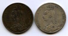 2 BRITISH CROWNS QUEEN VICTORIA 1889 1890 COLLECTABLE CONDITION