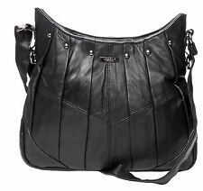 On Trend Ladies Soft Leather Handbag Bag Latest Style With Pleats & Studs 1931