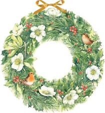Deluxe Traditional Card Advent Calendar Large - Christmas Wreath Birds & Berries
