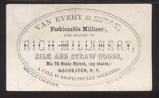 ROCHESTER NY  Mrs. C.C. Van Every Millinery VICTORIAN TRADE CARD 1880's/90's