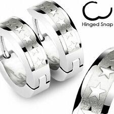 1 Paar Edelstahl Schmuck Klapp Ohrringe Creolen Silber Farben mit 5 Sternen