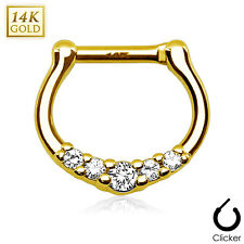 14K Solid GOLD Linked Gem SEPTUM Nose RINGS Clicker Stud Hanger Piercing Jewelry