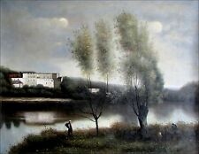 Camille Corot Ville D'avray Repro, Quality Hand Painted Oil Painting 36x48in
