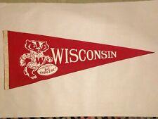 University of Wisconsin Badgers Red Vintage Felt Pennant circa 1960's