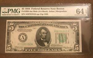 1934   Boston mule $5 federal reserve note , crisp &  bright  PMG 64 EPQ