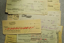 25 mixed USA bank checks most 1900's-1960's most nice used