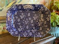 English Staffordshire Chintz Burleigh Pottery Blue & White Calico Bread Platter