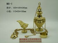 Brass Censer Incense Burner with Boat for Church M6-1