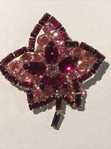Vintage Juliana Delizza & Elster Red & Pink Rhinestone Maple Leaf Brooch Pin
